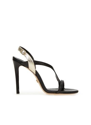 George Hogg 7005343 Gold Kadın Deri Sandalet Siyah
